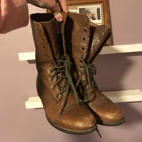 the sale of shoes super cute fashion Steve Madden Shoes | Troopa Brown Leather Combat Boots | Poshmark
